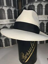 Borsalino Cuenca Panama Men's Summer Straw Fedora Hat Made In Italy Size 6 7/8