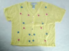 *NWT* JONATHAN MARTIN JUNIORS GIRLS YELLOW SHORT SLEEVE CARDIGAN SIZE 16 T112