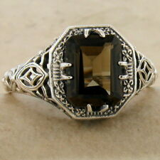 Sterling Silver Ring Size 10, #909 Genuine Smoky Quartz Antique Deco Style 925