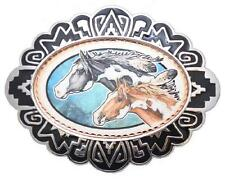 """Solid Copper & Pewter BELT BUCKLE - DOUBLE HORSEHEADS - NEW - 4"""" X 3"""" - C-81"""