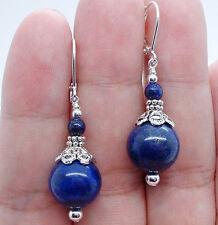Natural 6-12mm Blue Egyptian Lapis Lazuli Round Beads Dangle earrings AAA Grade