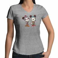 Hipster Nerdy Mickey Minnie Mouse Juniors Tee T-Shirt Cartoon Cool Couple S-2XL