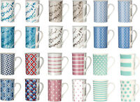 Set Of Straight Sided Porcelain Mugs 270ml Novelty Tea Coffee Drinking Cups New