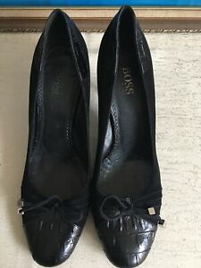 Hugo Boss Leather Highheel Shoes/ Exc Conds/ Size 39/ Made In Italy