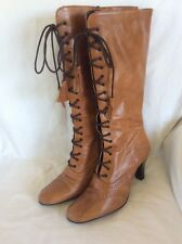 ROBERTO VIANNI Tan Leather Lace Up Victorian Steampunk Heel Boots SIZE 7 NEW