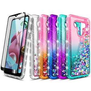 For LG Stylo 6 Case, Liquid Glitter Bling Phone Cover + Tempered Glass Protector