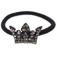Haargummi Elastisch Haarband Zopfband schwarz Krone Strass NEU