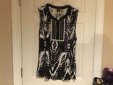Women's RXB Black/White Sleeveless Tassel Top Size XXL