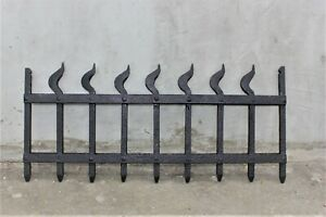 Vintage wrought iron embellishment Art Deco style decor Hand forged iron grate p
