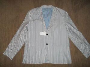 VINCE Blue Stripe Lined Cotton BLAZER Jacket SPORT COAT Men's Size 2XL XXL NEW