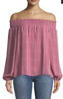 "NWT Womens Parker Pink ""Teagan"" Off the Shoulder Plaid Blouse Top Sz Medium"