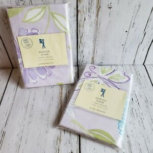 Pottery Barn Kids Marissa 2 Shams Purple Butterfly Flower Standard Cotton - New