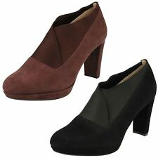 LADIES CLARKS SUEDE SLIP ON ELASTICATED FORMAL HEELED SHOES BOOTS KENDRA MIX