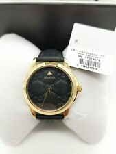 Gucci G-Timeless Gold Tone Steel Black Dial Leather Strap Womens Watch YA1264034