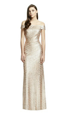 DESSY OFF THE SHOULDER SEQUIN GOWN ROSE GOLD SIZE 12 BNWT