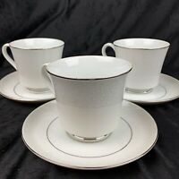 Vintage Crown Victoria Fine China - LOVELACE - Footed Cup & Saucer Set Of 3