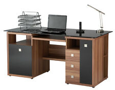 Alphason Office Zara Walnut and Black Glass Computer Desk Home Office AW14004-W