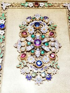 Spectacular Antique Austro  Hungarian Jeweled Enameled  Compact Bag- Exquisite