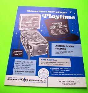 Chicago Coin PLAYTIME Original 1968 Flipper Game Pinball Machine Sales Flyer