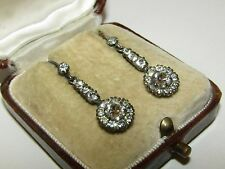 CLASSIC, ELEGANT, VICTORIAN, STERLING SILVER EARRINGS WITH OLD DIAMOND CUT PASTE