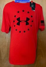 Men's Under Armour Freedom Logo Red Black T-Shirt Size 2XL XXL