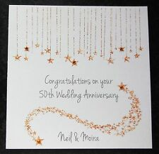 Personalised Handmade 50th Golden Wedding Anniversary Card