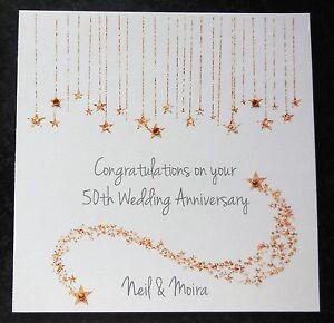 Personalised Handmade 50th Golden Wedding Anniversary Card