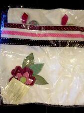 Pottery Barn Kids Brocade Ribbon Velvet Blossom Decorative Pillow Sham 12X16 New