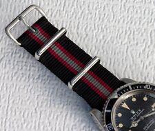 Long watch band Black Bond nylon 20mm military strap slip-through type strap