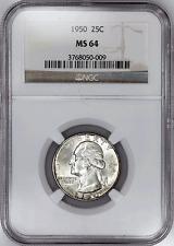 1950 Washington Quarter - NGC MS 64