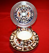 """IMARI 2451 w STERLING 1"""" RIM SAUCER, CUP & PLATE BY ROYAL CROWN DERBY"""