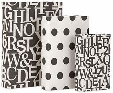 3 Retro Wood Book Boxes Storage Set Black White Letters Polka Dots Cotton Covers