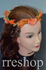 Orange Flower and Feather with Green Leaves  Festival Design Head band