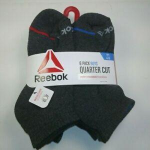 Reebok Boy's 6-pair Quarter Cut Crew Socks - dk gray - Fits boy's shoe size 4-10