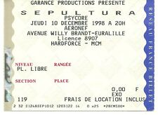 RARE / TICKET BILLET DE CONCERT - SEPULTURA : LIVE A LILLE ( FRANCE ) 1998