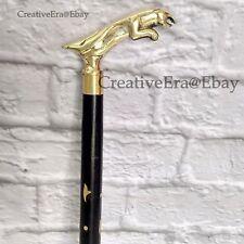 Designer Brass Jaguar Head Handle Black Wooden Walking Stick Brass Inlaid Cane