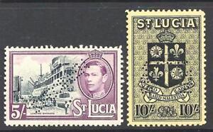 SAINT LUCIA 1938 5/- black and mauve and 10 - 94619