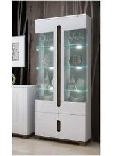 White Gloss Display Storage Unit 2 Glass Door Shelves Living Cabinet Furniture