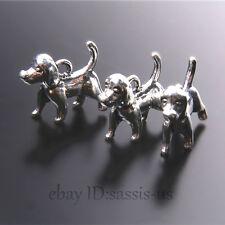 25pcs 18mm Charms 3D Papillon Dog Pendant Tibet Silver DIY Jewelry Charm A7423