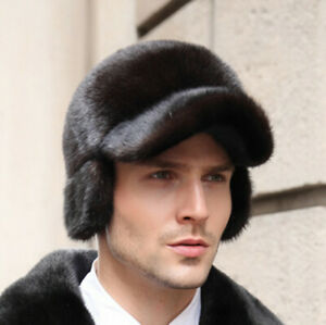 Male Real Mink Fur hat Whole Pelt Mink Fur Hat Top Baseball Cap w Ear Flap