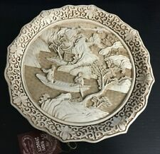 vintage Ivory Dynasty carved oriental collector plate ~ 1981 / Arnat Imports