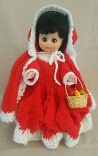 "Vintage Red Riding Hood 13"" Doll Crocheted Red Dress Fruit Basket Black Hair"