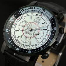 Men's Aviator Mechanical Self-winding Watch Leather Auto Analog 6 Hands White