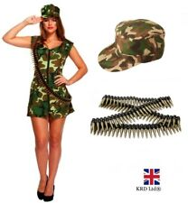Ladies SEXY ARMY SOLDIER COSTUME Adult Girl Camo Uniform Fancy Dress Outfit UK