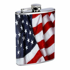 American Flag D13 Flask 8oz Stainless Steel Hip Drinking Whiskey