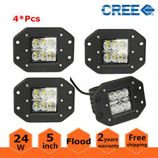 4X 5inch 24W LED Light Bar Pods Cube Flood ATV Tractor 4X4WD OffRoad Flush Mount