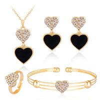 EE_ FM- Rhinestone Black Love Heart Necklace Earrings Bracelet Ring Jewelry Set