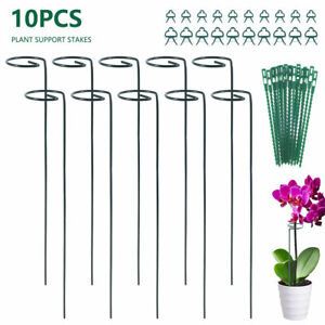 10Pack Metal Plant Bow Supports Stake Strong Round Garden For Flower Holder UK