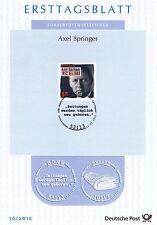 BRD 2012: Axel Springer 100. Geburtstag! Ersttagsblatt der Nr. 2927! 1608