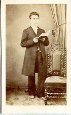 Photo ancienne CDV Portrait Homme au livre circa 1850 Second Empire A. Cros
